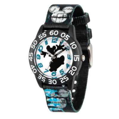 Disney Mickey Mouse Boys Black Strap Watch-Wds000125