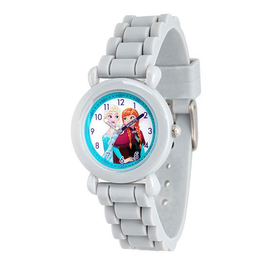 Disney Collection Frozen Girls Gray Strap Watch-Wds000133