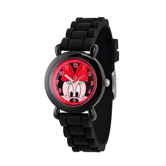 Disney Minnie Mouse Girls Black Strap Watch-Wds000135