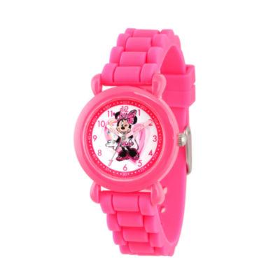 Disney Minnie Mouse Girls Pink Strap Watch-Wds000136