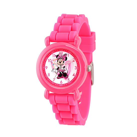 Disney Minnie Mouse Girls Pink Strap Watch-Wds000136