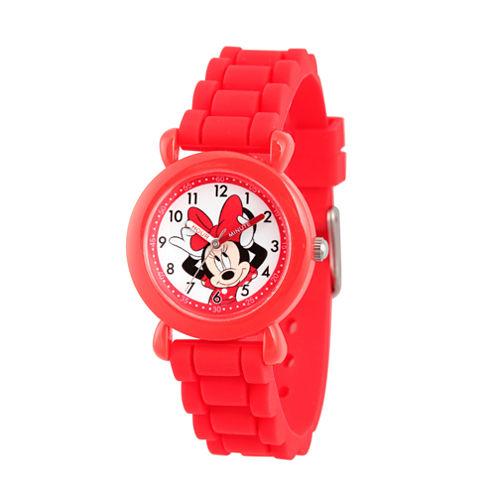 Disney Minnie Mouse Girls Red Strap Watch-Wds000138