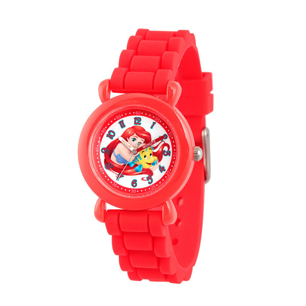 Disney The Little Mermaid Girls Red Strap Watch-Wds000145