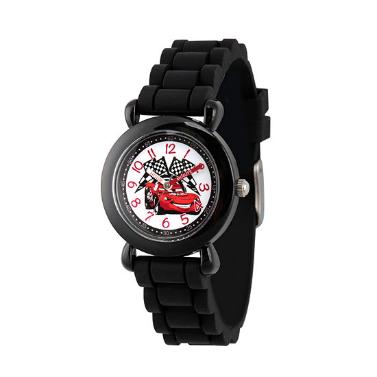 Disney Collection Cars Boys Black Strap Watch-Wds000150