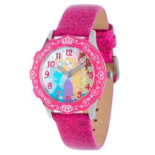 Disney Time Teacher Disney Princess Girls Pink Strap Watch-W001980