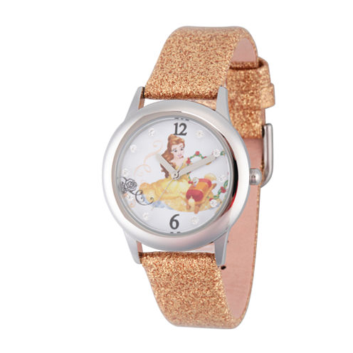 Disney Beauty and the Beast Girls Gold Tone Strap Watch-W002923