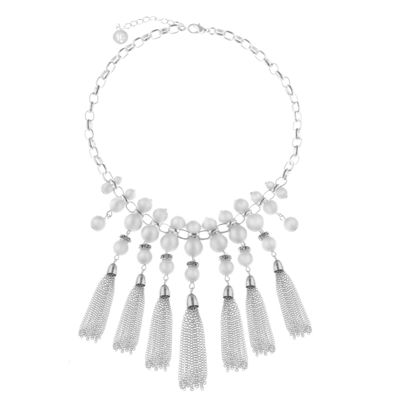 Liz Claiborne Womens White Statement Necklace