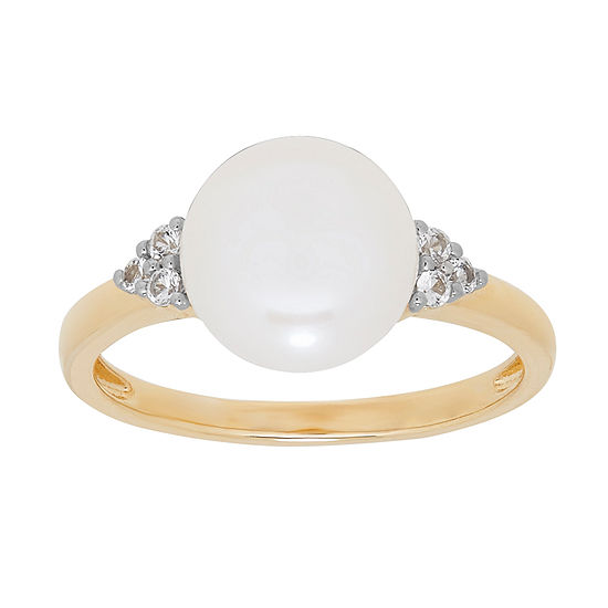 Certified Sofia™  Cultured Freshwater Pearl & Lab-Created White Sapphire 14K Gold Cocktail Ring
