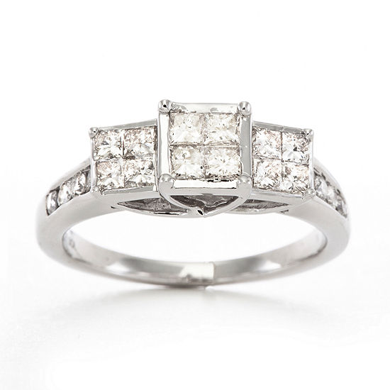 1 CT  T W  Diamond Ring 10K White Gold