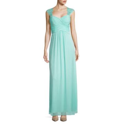 Scarlett Sleeveless Lace-Trim Long Gown - Tall