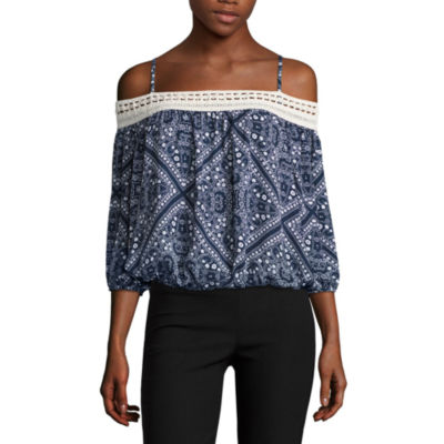 by&byOff The Shoulder 3/4 SleeveBlouse-Juniors