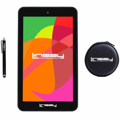 "LINSAY® 7"" Quad Core 1280x800 IPS Screen 8GB DUAL CAM Tablet with Earphones and Pen"