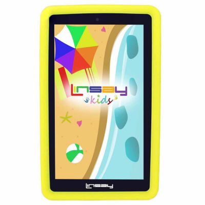 "LINSAY® 7"" Kids Funny QUAD CORE TAB Android 6.0 8GB DUAL CAM with Yellow Kids Defender Protective Case"