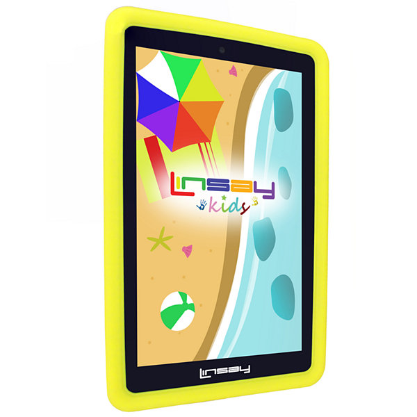 "LINSAY® 7"" Kids Funny QUAD CORE TAB 1280x800 IPS Screen 8GB DUAL CAM With Yellow Kids Defender Protective Case"