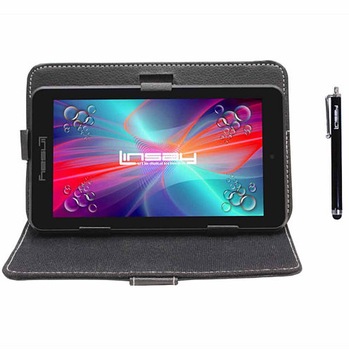"LINSAY® 7"" QUAD CORE 1280x800 IPS Screen 8GB DUAL CAM Tablet Bundle with Black Leather Protective Case and Stylus Pen"