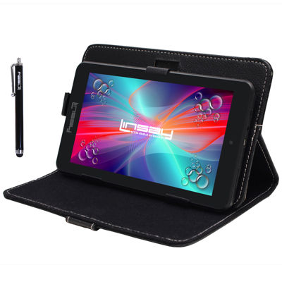 "LINSAY® 7"" HD QUAD CORE Android 6.0 Tablet 8GB DUAL CAM Bundle with Black Leather Protective Case and Stylus Pen"