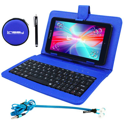 "LINSAY® 7"" HD QUAD CORE Android 6.0 Tablet 8GB DUAL CAM Super Bundle with Blue Leather Keyboard Case, Earphones and Stylus Pen"