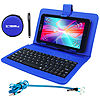 "LINSAY® 7"" HD QUAD CORE Android 6.0 Tablet 8GB DUAL CAM Super Bundle with Blue Leather Keyboard Case"