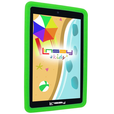 LINSAY® 7'' KIDS Funny TAB QUADCORE 1024x600 HD Dual Cam BUNDLE with Kids Defender Case Android