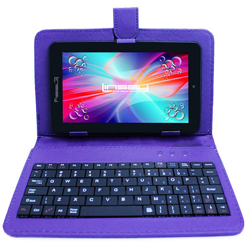 """LINSAY® 7"""" QUAD CORE 1280x800 IPS Screen 8GB DUAL CAM Tablet Bundle with Purple Leather Keyboard Case"""