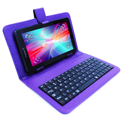 "LINSAY® 7"" QUAD CORE 1280x800 IPS Screen 8GB DUAL CAM Tablet Bundle with Purple Leather Keyboard Case"