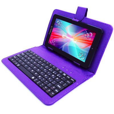 "LINSAY® 7"" HD QUAD CORE Android 6.0 Tablet 8GB DUAL CAM Bundle with Purple Leather Keyboard Case"