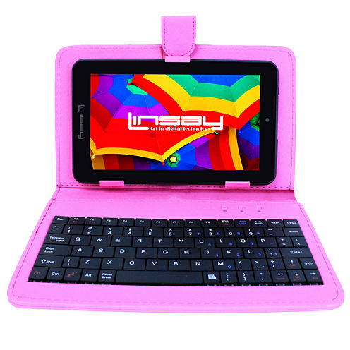 """LINSAY® 7"""" QUAD CORE 1280x800 IPS Screen  8GB DUAL CAM Tablet Bundle with Pink Leather Keyboard Case"""