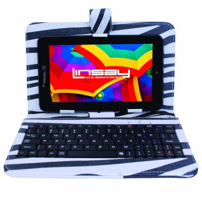 """LINSAY® 7"""" HD QUAD CORE Android 6.0 Tablet 8GB DUAL CAM Bundle with Zebra Style Leather Keyboard Case"""