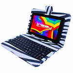 "LINSAY® 7"" HD QUAD CORE Android 6.0 Tablet 8GB DUAL CAM Bundle with Zebra Style Leather Keyboard Case"