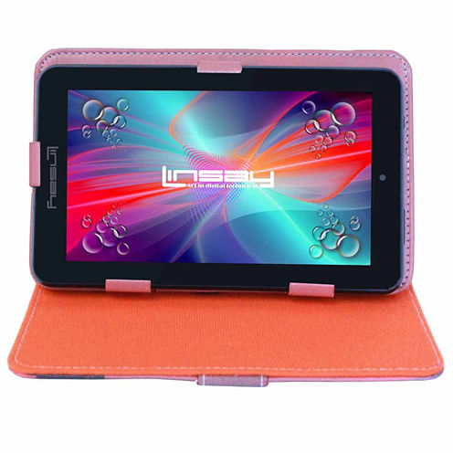 """LINSAY® 7"""" QUAD CORE 1280x800 IPS Screen 8GB DUAL CAM Tablet Bundle with New York Style Leather Protective Case"""