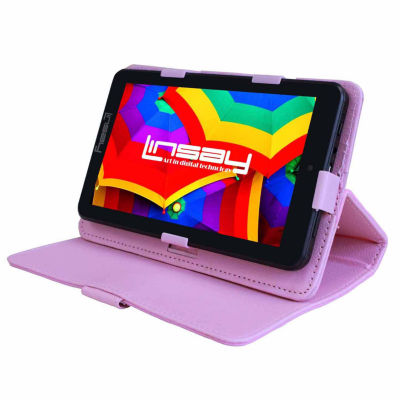 "LINSAY® 7"" QUAD CORE 1280x800 IPS Screen 8GB DUAL CAM Tablet Bundle with Pink Leather Protective Case"