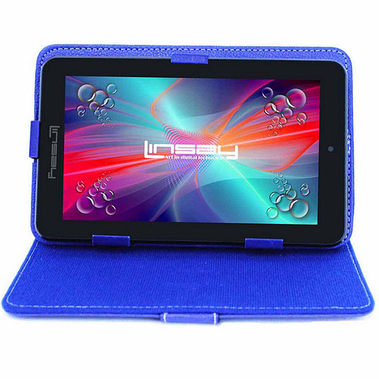 """LINSAY® 7"""" HD QUAD CORE Android 6.0 Tablet 8GB DUAL CAM Bundle with Blue Leather Protective Case"""