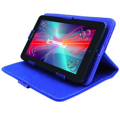 "LINSAY® 7"" QUAD CORE 1280x800 IPS Screen 8GB DUAL CAM Tablet Bundle with Blue Leather Protective Case"