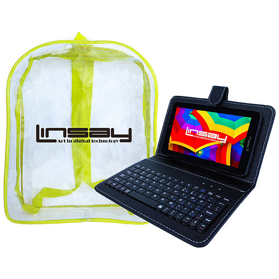 "LINSAY 7"" Quad-Core 2GB RAM 16GB Android 9.0 Pie Tablet with Black Keyboard Case and Kids Back Pack"