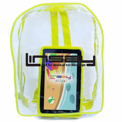 "LINSAY® 7"" KIDS FUNNY QUAD CORE TAB ANDROID 6.0 8GB DUAL CAM with Yellow Kids Defender Protective Case and Kids Bag Pack"