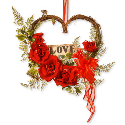 "National Tree Co. 12"" Heart Rose Wreath"