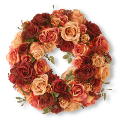 "National Tree Co. 16"" Mixed Roses And Skimmia Wreath"
