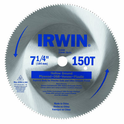 "Irwin 11440 7-1/4"" Steel 150 Tooth Circular Saw Blade"