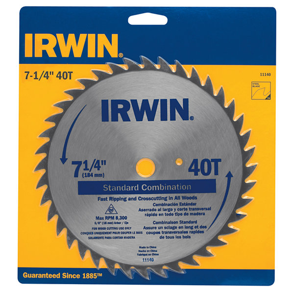 "Irwin 11140 7-1/4"" 40T Standard Combination Saw Blade"