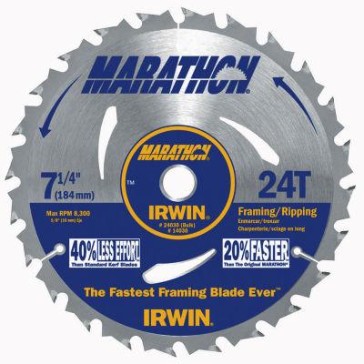 "Irwin Marathon 14030 7-1/4"" 24 Tooth Marathon® Portable Corded Circular Saw Blade"