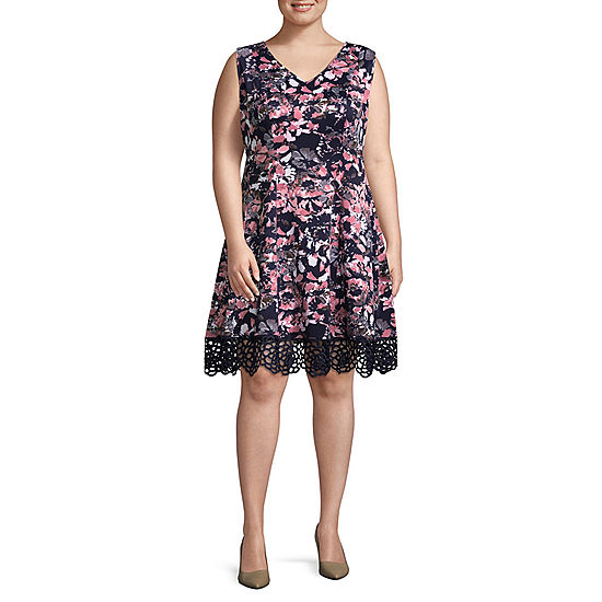 DR Collection Sleeveless Floral Fit Flare Dress