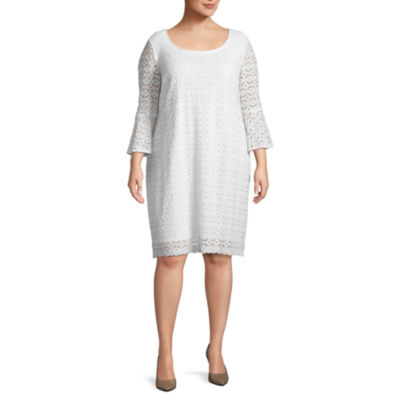 Ronni Nicole 3/4 Sleeve Circles Shift Dress - Plus