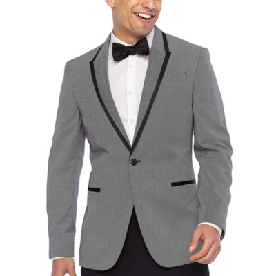 JF J.Ferrar Black White Pattern Slim Fit Stretch Tuxedo Jacket