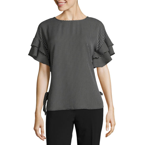Como Black Ruffle Sleeve Side Tie Top