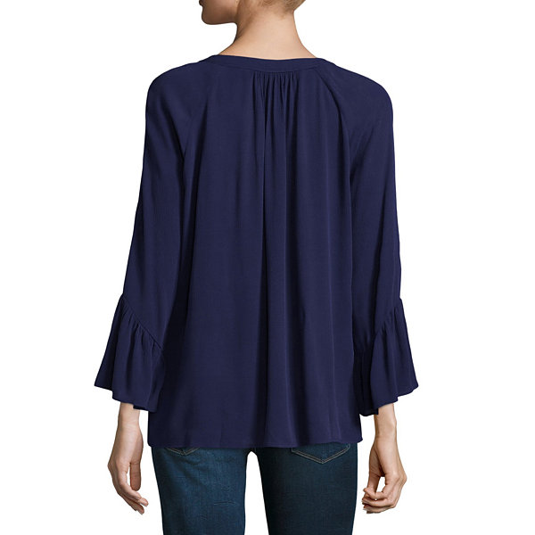 a.n.a Long Sleeve Bell Sleeve Peasant Top