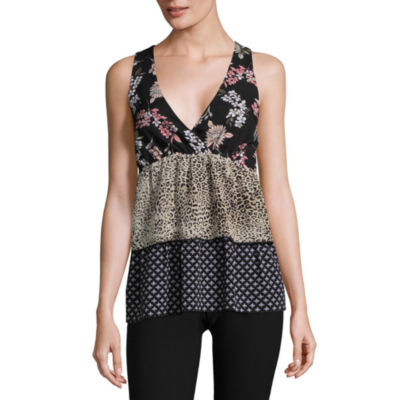 Libby Edelman Sleeveless Mixed Print Tiered Top
