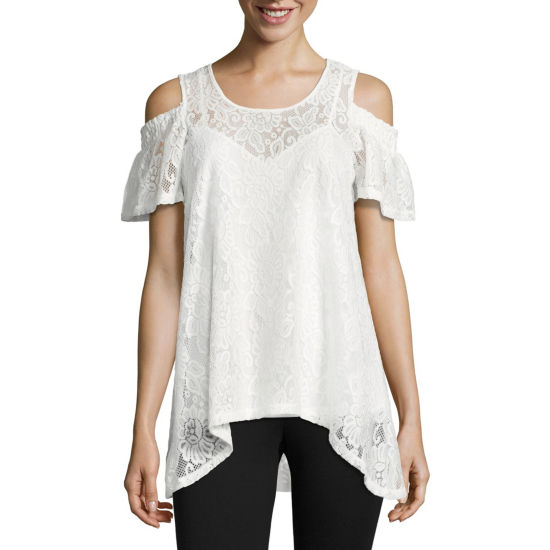 Libby Edelman Floral Lace Cold Shoulder Top