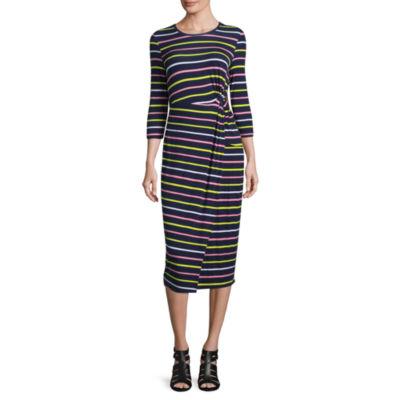 Project Runway 3/4 Sleeve Twist Front Dress