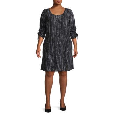 Worthington 3/4 Sleeve Shift Dress - Plus