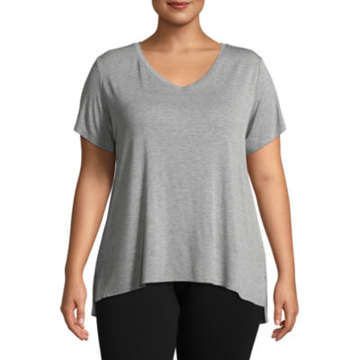Ambrielle Short Sleeve V Neck Pajama Top-Plus